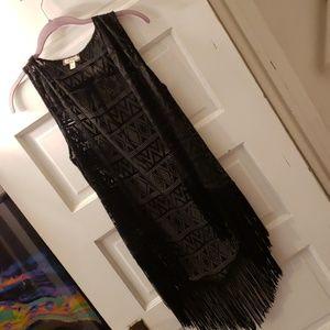 Fringe lace sleeveless vest geometric print